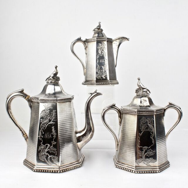 19th Century New York Wood & Hughes American Coin Silver Tea Set - SL