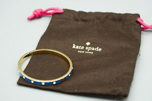 Kate-Spade-Blue-Enamel-amp-Crystal-Bangle-Bracelet-w-Pouch-Nice