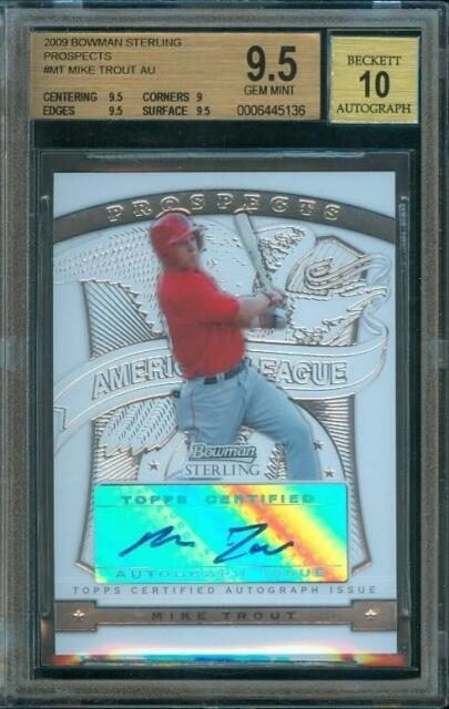 2009 Bowman Sterling MIKE TROUT Prospects #MT Trading Card BGS 9.5 Auto BGS 10