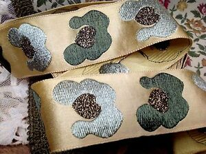 """Vintage Embroidered 1940s Ribbon 1  7/8"""" Silk Satin Jacquard 1yd Made in France"""