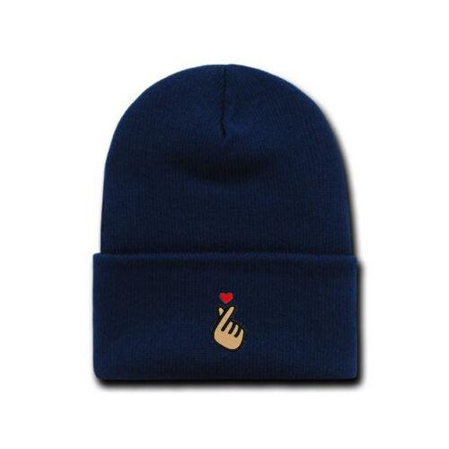 Korean KPOP Love Finger Heart embroidered Beanie Cap Hat Navy Blue