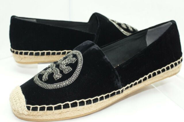 ae559cc2bed4b New Tory Burch Logo Chain Espadrille Shoes Ballet Flats Size 7.5 Black Sale