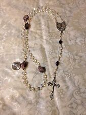 NEW Hand-made CRYSTAL AB 8mm ROSARY, AMETHYST STONE, MARY HEART FLORAL CENTER,