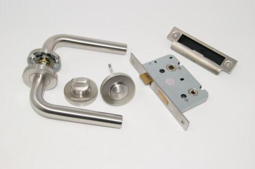 Straight Handle Set Latch Lock Bathroom for 35mm Doors /& 45mm Fire Doors