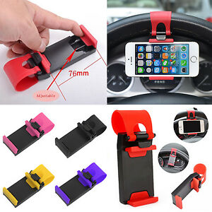1X-Car-Steering-Wheel-Clip-Mount-Holder-Cradle-Stand-For-Mobile-Phone-GPS-New