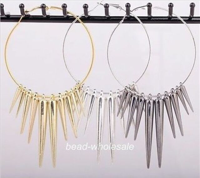 3pairs Women's Acrylic Punk Spike Charms Basketball Wives Hook Circle Earrings