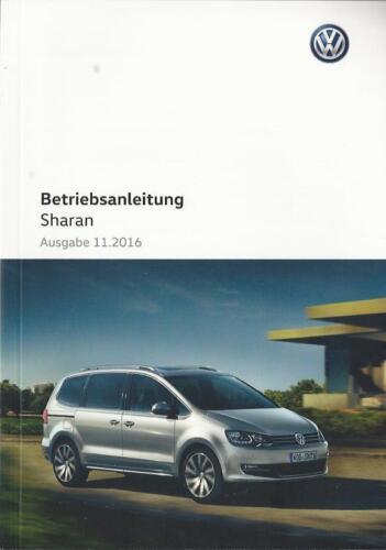 VW Sharan 2 manuale di istruzioni 2016 2017 MANUALE MANUALE bordo libro BA
