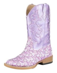 b7d512a9208 Details about Roper Western Boots Girls Floral Glitter Purple  09-018-1901-1520 PU