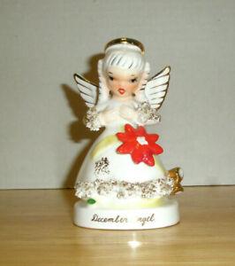 Vintage-NAPCO-December-Angel-Figurine-Poinsettia-Bells-Spaghetti-Art-Trim