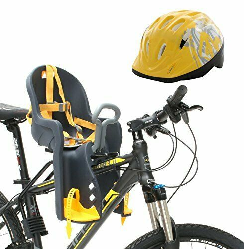 Clamp-On Bicycle Front Toddler Seat w  Handrail & Helmet for Kids Up to 3yrs Old