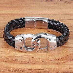 Détails sur Bracelet pour homme en cuir noir et acier inoxydable 21 cm fermoir magnétique