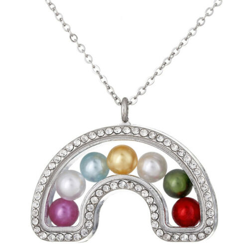 "K1399 With Rhinestone Silver Rainbow Glass Floating Locket Necklace 20/"""