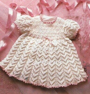 "Baby Dress Knitting Pattern very pretty with smocked yoke 16-22"" DK 651"