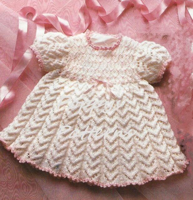 "Baby Dress Knitting Pattern very pretty with smocked yoke 16-22/"" DK 651"