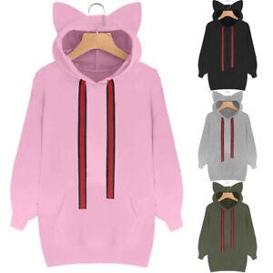 Damen-Katze-Hoodie-Langarm-Sweatshirt-Kapuzen-Pullover-Pullover-Tops-Bluse