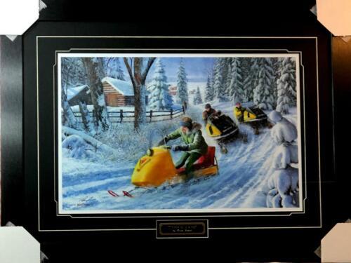 Kevin Daniel Three of a Kind Snowmobile Art Print-Framed  31.5 x 23.5