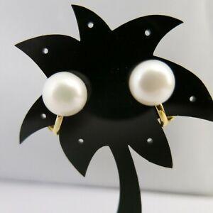Ohrclips-mit-echten-grossen-Perlen-10mm-Weiss-vergoldet-nickelfrei