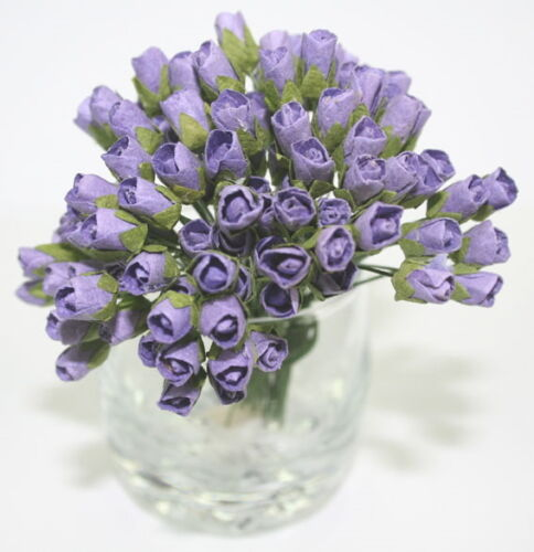 MINI ROSEBUDS LAVENDER 10Pk 1cm Buds /& 7.5cm long Stem GTB 14 Colours Available