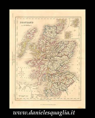 Cartina Stradale Della Scozia.Scotland Scozia Carta Geografica Originale 1800 Ebay