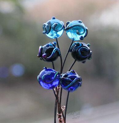 Lampwork Glass Headpins Flower Headpins Transparent Teal Glass MTO Silver Glass 6 Teal Flower Headpins