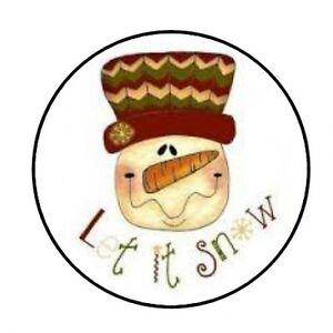48-LET-IT-SNOW-CHRISTMAS-SNOWMAN-ENVELOPE-SEALS-LABELS-STICKERS-1-2-034-ROUND