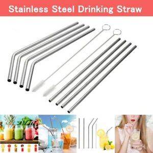 10pcs-Stainless-Steel-Metal-Reusable-Cocktail-Drinking-Straws-Cleaner-Brush-USA