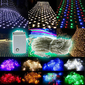 Outdoor String Lights Net : 96/200/880 LED Net Mesh Fairy String Lights Christmas Xmas Wedding Party Outdoor eBay