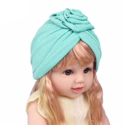 Muslim Kids Turban Stretch Hat Girls Flower Head Wrap Beanie Chemo Caps S