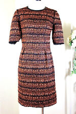 MULBERRY England Flame Exotic Tweed Dress Orange Black Small S 0 1 2 36