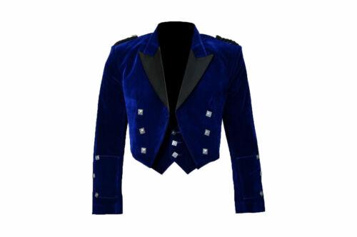 "New Style Scottish Blue Velvet Prince Charlie Kilt Jacket With Waistcoat 36/""-54/"""
