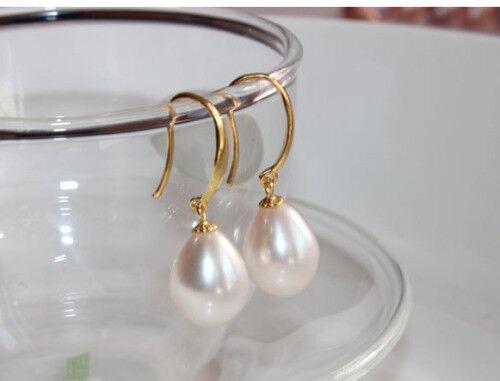 Charming 11-12mm south sea baroque white pearl earring