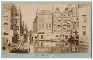 Nederland-Pays-Bas-Amsterdam-Voorburgwal-Vintage-albumen-print-Tirage-albu