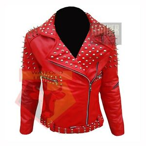 WESTERN-CLUB-WEAR-WOMEN-039-S-GIRLS-MOTORBIKE-1071-RED-SPIKE-STUDDED-LEATHER-JACKET