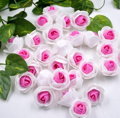 100 x Kuenstliche Bluetenkopf Rosen Dekoration Rosenrot DIY Hochzeitsfeier Taufe