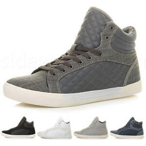 Mens-flat-lace-up-quilted-casual-hi-high-top-ankle-boots-trainers-sneakers-size