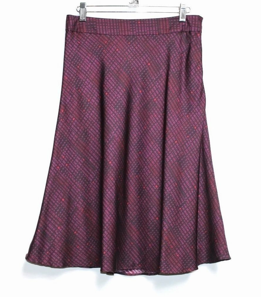 MARTIN + OSA - 4 (S) - Maroon Red Geometric 100% Silk Knee-Length A-Line Skirt
