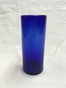 VINTAGE-ANTIQUE-COBALT-BLUE-CYLINDER-VASE-HAND-BLOWN-PRESSED-PONTIL-6-5-034-h-NICE