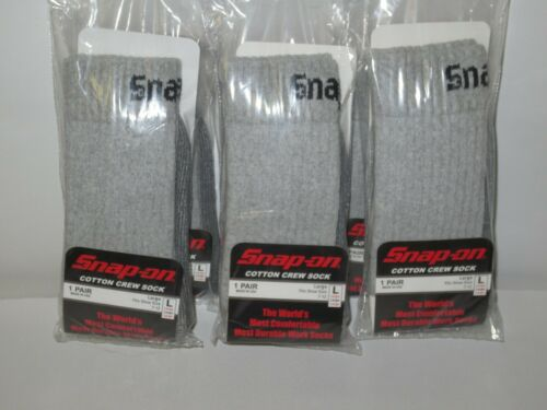 6 PAIRS Men/'s GRAY Snap-On Crew Socks LARGE ~ FREE SHIPPING ~ MADE IN USA *NEW*