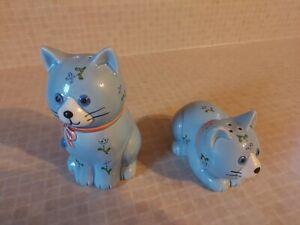 Rare Vintage Cat Collector's Set Ceramic Cat Salt/Pepper Shakers Otagiri Japan