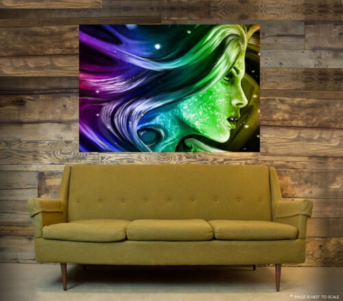 A1 - A5 SIZES PSYCHEDELIC COLOURFUL LADY GLOSSY ABSTRACT ART POSTER PRINT