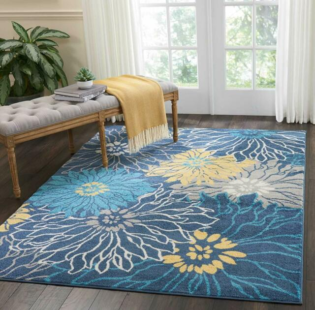 Multicolored Transitional Area Rugs Floral Living Dining Room Rug