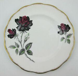 Royal-Albert-Masquerade-8-1-8-Salad-Plate-Black-amp-Red-Roses-Gold-Scalloped-Edge