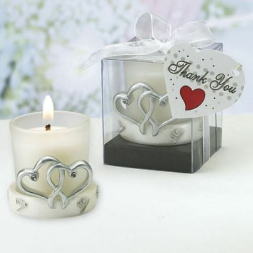 interlocking hearts double heart candle wedding favor ...