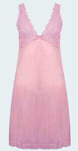 Full-Slip-Nightdress-Underskirt-Camisole-Light-Pink-Lace-Trim-Size-14-34-034-BUL