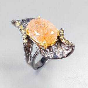 Vintage-Natural-Rutilated-Quartz-925-Sterling-Silver-Ring-Size-8-5-R123187