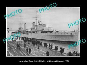 OLD-8x6-HISTORIC-AUSTRALIAN-NAVY-PHOTO-OF-THE-HMAS-SYDNEY-SHIP-c1936