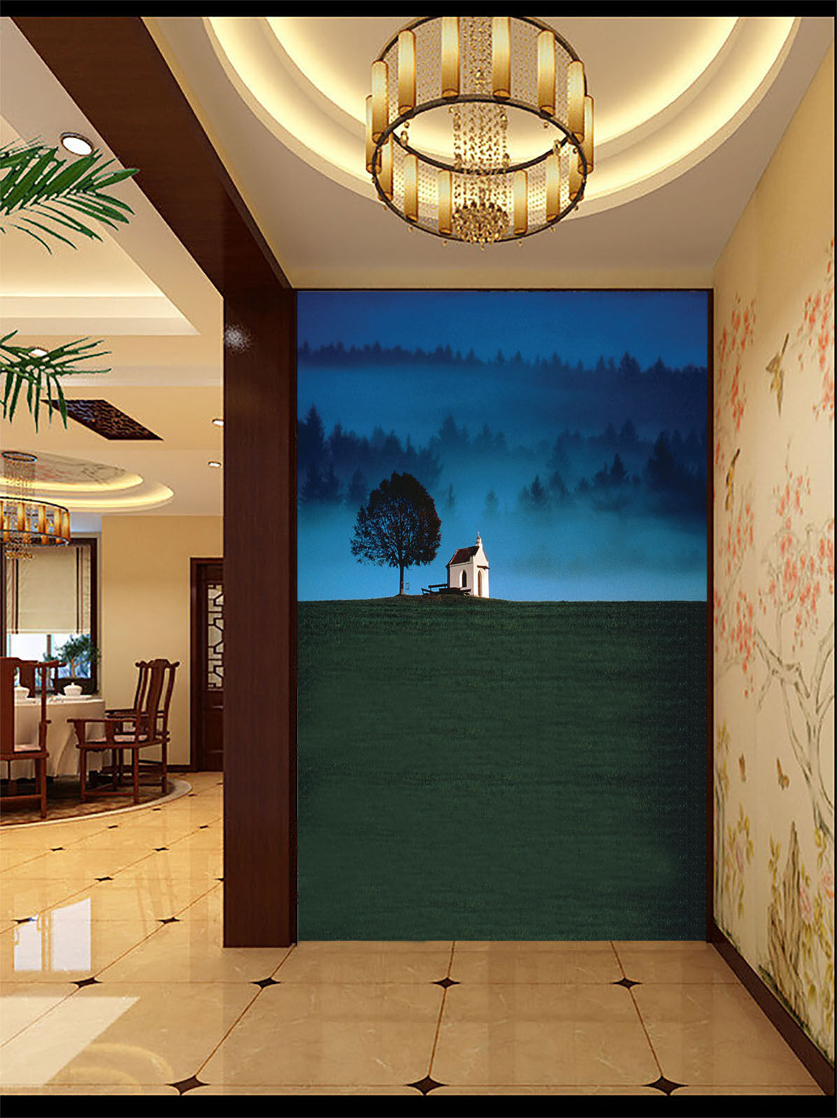 3D Lawn Hut Tree 2075 Wall Paper Wall Print Decal Wall Deco Wall Indoor Murals
