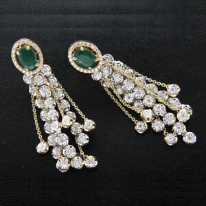 1-00Ct-Round-Cut-Diamond-amp-Emerald-Drop-Dangle-Earrings-14k-Yellow-Gold-Over