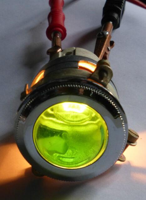 Gros voyant ARNOULD à cabochon vert en verre neuf diamètre 4 cm