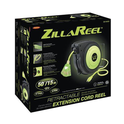 ZillaReel 50 Foot E8140503 Extension Cord Retractable Reel Workshop Flexible